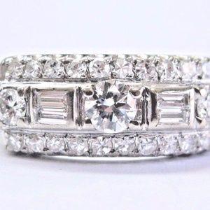 Vintage Round & Baguette Diamond Three-Row White G